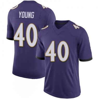 Men's Nike Baltimore Ravens Kenny Young 100th Vapor Jersey - Purple Limited